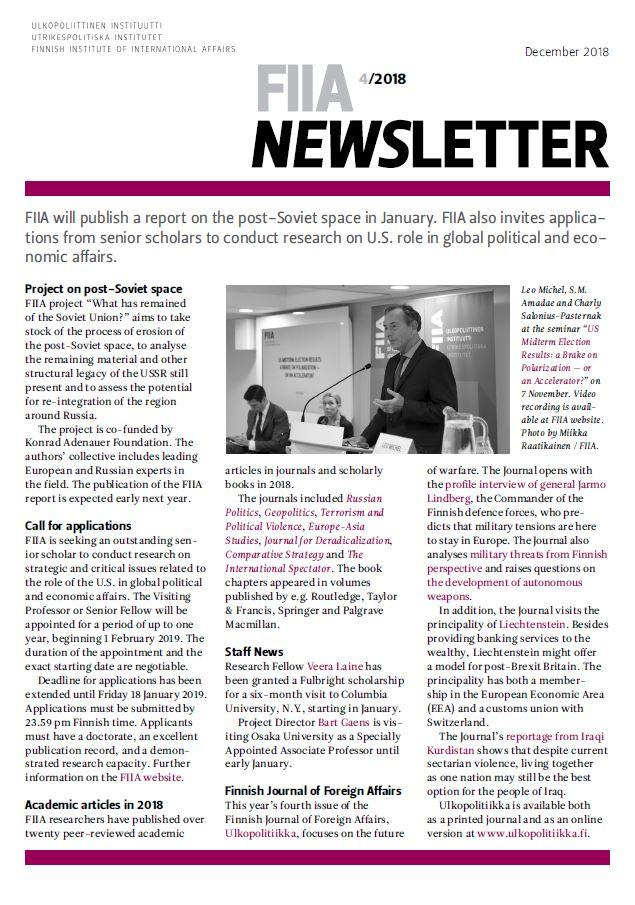 FIIA Newsletter 4/2018 | FIIA – Finnish Institute of International