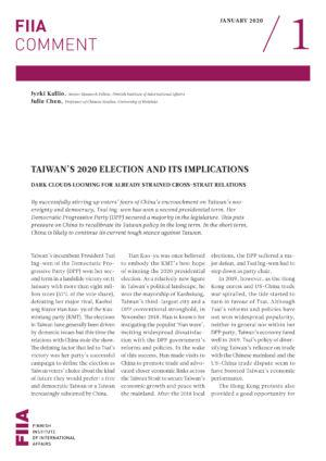Taiwan's 2020 election and its implications: Dark clouds looming for already strained cross-strait relations
