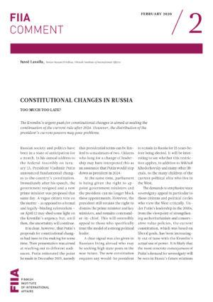 Constitutional changes in Russia: Too much too late?