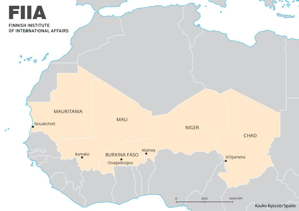 A map of the Sahel region including five countries: Mauritania, Mali, Burkina Faso, Niger, and Chad.