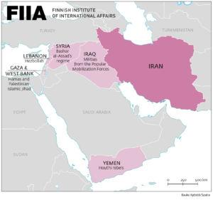 A map of Iran's regional allies including goups in Yemen, Iraq, Syria, Gaza and West Bank