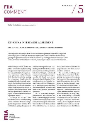EU-China investment agreement: the EU's balancing act between values and economic interests